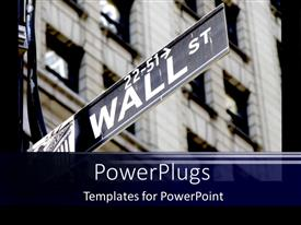 PowerPlugs: PowerPoint template with wall Street economics on stock market in a big city