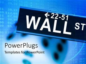 PowerPlugs: PowerPoint template with wall street signpost over financial document in blue background