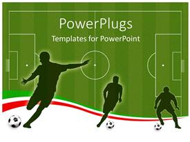 PowerPlugs: PowerPoint template with wallpaper background with man silhouettes playing socce