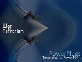 PowerPoint template displaying war theme with war on terrorism words on dark blue background