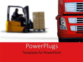 PowerPoint template displaying warehouse with heavy red truck loaded by small