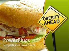 PowerPlugs: PowerPoint template with warning road sign with 'obesity ahead' words on it, beside a burger