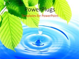 PowerPlugs: PowerPoint template with a water droplet falling in a lake with a lot of leaves