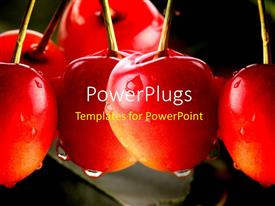 PowerPlugs: PowerPoint template with water droplets forming on red cherry fruit on dark background