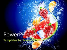 PowerPlugs: PowerPoint template with a number of fruits in the water