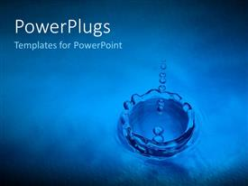 PowerPlugs: PowerPoint template with water drops into puddle ripple effect blue background