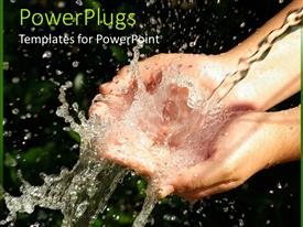 PowerPlugs: PowerPoint template with water flowing out of human hand, save water