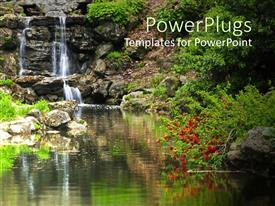 PowerPlugs: PowerPoint template with waterfall, stream, rocks, greenery, plants, peaceful, zen