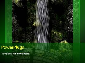 PowerPlugs: PowerPoint template with waterfall with wooden bridge and butterfly flapping wings