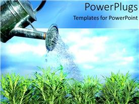PowerPlugs: PowerPoint template with watering the garden plants growing blue skies