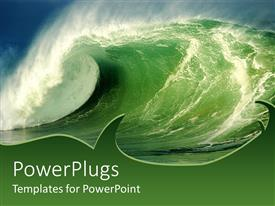 PowerPoint template displaying a wave in the sea with greenish background