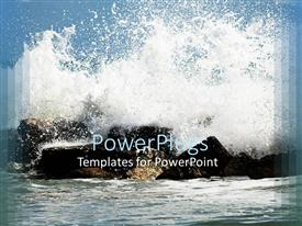 PowerPoint template displaying the waves hitting the stones creating a splash