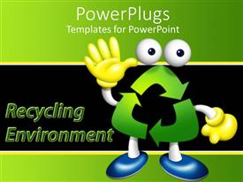 PowerPlugs: PowerPoint template with waving figure made with green recycling symbol wearing yellow gloves and blue shoes