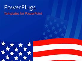 PowerPlugs: PowerPoint template with a wavy American flag on a blue colored background