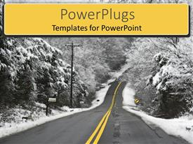 PowerPlugs: PowerPoint template with a way in between trees covered with ice