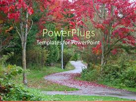 PowerPlugs: PowerPoint template with a way in the garden with a number of trees