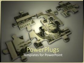 PowerPlugs: PowerPoint template with wealth management theme with puzzle pieces made of US money