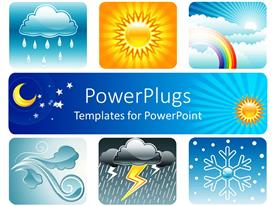 PowerPoint template displaying weather theme on white background showing six depictions related to weather