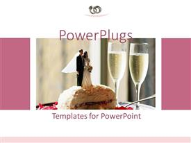 PowerPoint template displaying wedding cake with bride and groom topper next to two glasses champagne