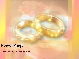 PowerPoint template displaying wedding depiction with animated gold wedding rings on colorful background