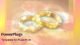 PowerPoint template displaying wedding depiction with animated gold wedding rings on colorful background - widescreen format