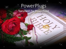 PowerPoint template displaying wedding depiction with roses, necklace and wedding ring on Holy Bible