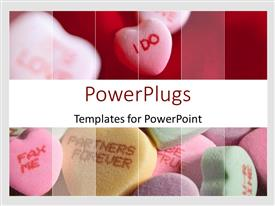 PowerPoint template displaying wedding love theme with I do and partners forever fax me colorful heart shaped candies