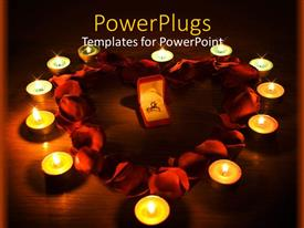 PowerPlugs: PowerPoint template with a wedding ring with petals and candles