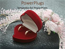 PowerPlugs: PowerPoint template with wedding rings in red box with flowers and pearls, bridal, jewelry