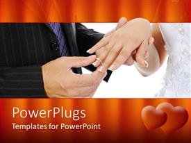 PowerPlugs: PowerPoint template with wedding theme with groom putting ring on bride's finger, red heart border