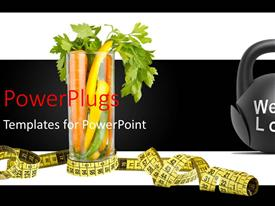 PowerPlugs: PowerPoint template with a measurin tape and a black object with text that spells out the words 'weight loss'