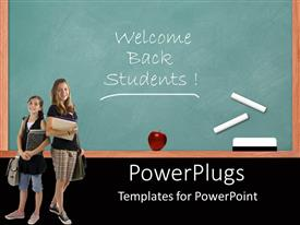 PowerPoint template displaying welcome back students chalk writing on chalkboard and two pupil girls holding books notebooks schoolbags
