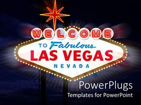 PowerPoint template displaying welcome Celebration to Las Vegas