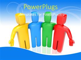 PowerPlugs: PowerPoint template with colorful 3D men displays teamwork on abstract blue background