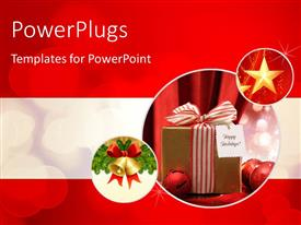 PowerPlugs: PowerPoint template with a well wrapped christmas gift on a blurry background