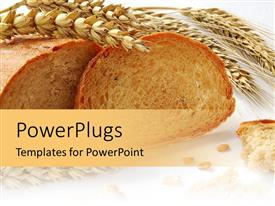 PowerPlugs: PowerPoint template with wheat and grains bread with gluten free ingredients for cooking recipe on a white background