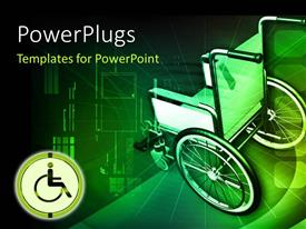 PowerPlugs: PowerPoint template with wheel chair in green color background