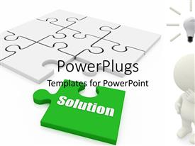 PowerPlugs: PowerPoint template with a whie jigsaw puzzle with a missing green piece