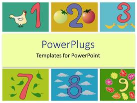 PowerPoint template displaying whimsical numbers, counting, kindergarten, elementary education