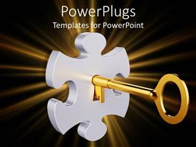 PowerPoint template displaying whit puzzle piece with a golden key inside it