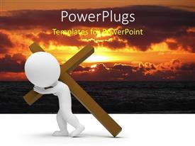 PowerPlugs: PowerPoint template with a white 3D character carrying a large brown cross