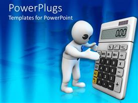 PowerPlugs: PowerPoint template with white 3D figure holding a big calculator on finance tools background
