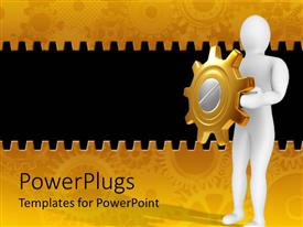 PowerPlugs: PowerPoint template with white 3D figure holding golden and silver gear in hands as a shield on mechanical gear golden and black background
