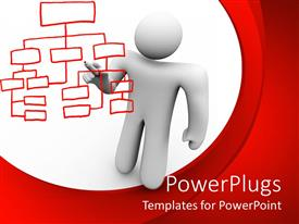 PowerPlugs: PowerPoint template with white 3D figure holding a red marker drawing organizational chart on white and red background