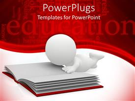 PowerPlugs: PowerPoint template with white 3D figure reading in an open book on white background with education and words related to education on red background