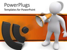 PowerPlugs: PowerPoint template with white 3D figure speaking through bullhorn making announcement with sound sign symbol on white and orange background