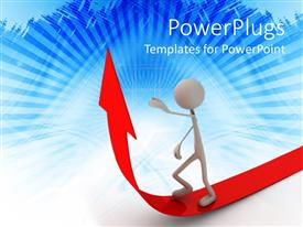 PowerPoint template displaying white 3D figure walking majestically on red arrow leading in upward direction