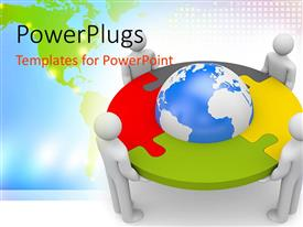 PowerPlugs: PowerPoint template with white 3D figures holding depiction of Globe framed in gray, yellow, green and red jigsaw puzzle pieces with green world map on bright background