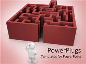 PowerPlugs: PowerPoint template with white 3D figurine thinking in front of labyrinth maze on pink background