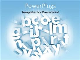 PowerPlugs: PowerPoint template with white 3D letters on white background with blue edges